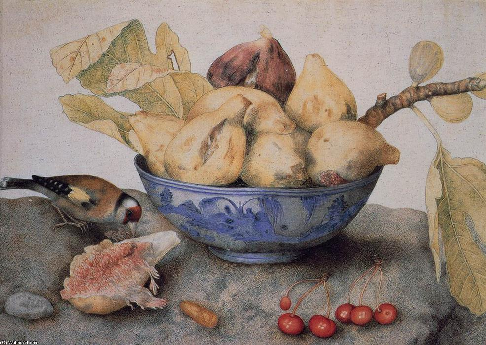 famous painting China Bowl with Figs, a Bird, and Cherries of Giovanna Garzoni