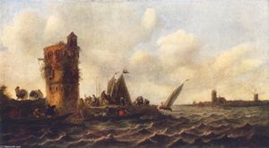Jan Van Goyen - A View on the Maas near Dordrecht
