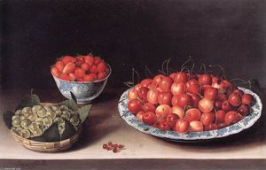 Louise Moillon - Still-Life with Cherries, Strawberries and Gooseberries