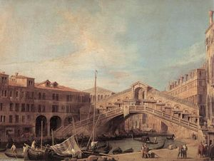 Giovanni Antonio Canal (Canaletto) - Grand Canal: The Rialto Bridge from the South