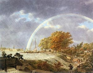 Jacob Cats - Autumn Landscape with Rainbow