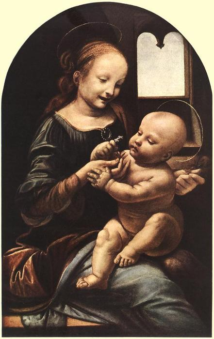 famous painting Madonna with Flower (also known as Madonna Benois) of Leonardo Da Vinci