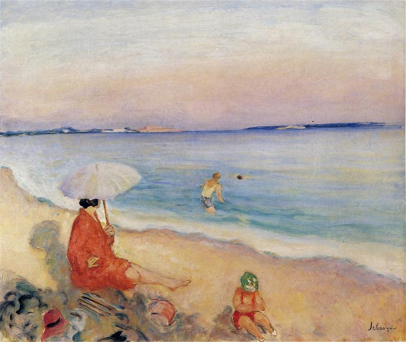 famous painting On the Beach of Henri Lebasque