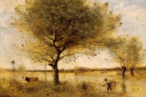 Jean Baptiste Camille Corot - Pond with a Large Tree