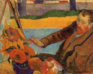 Paul Gauguin - Portrait of Vincent van Gogh Painting Sunflowers (also known as Villa Rotunda by Emma Ciardi)