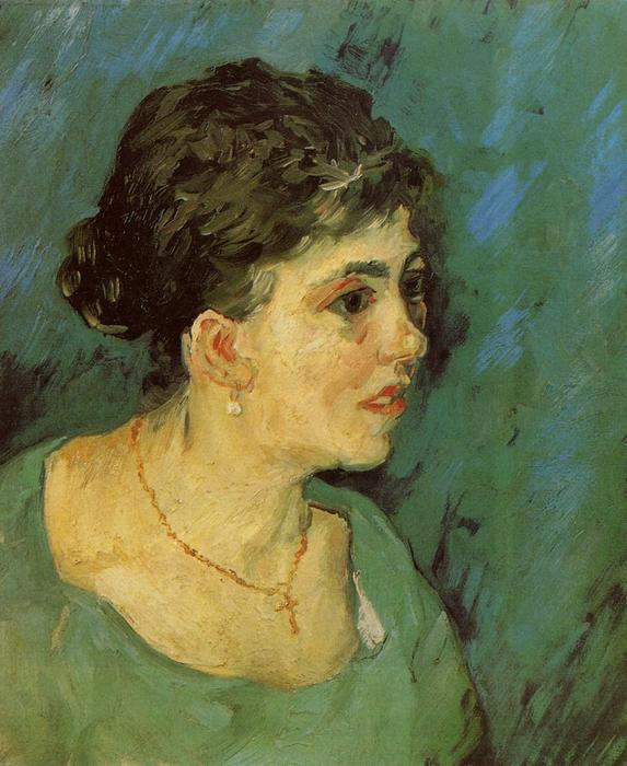 famous painting Portrait of a Woman in Blue of Vincent Van Gogh