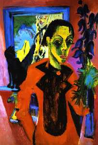 Ernst Ludwig Kirchner - Self Portrait with Cat