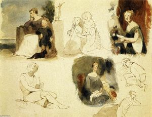 Thomas Sully - Sheet of Figure Studies