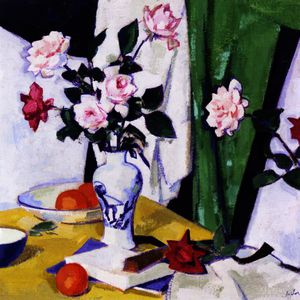 Samuel John Peploe - Still LIfe with Pink and Red Roses in a Chinese Vase