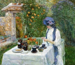 Frederick Childe Hassam - The Terre-Cuite Tea Set (also known as French Tea Garden)