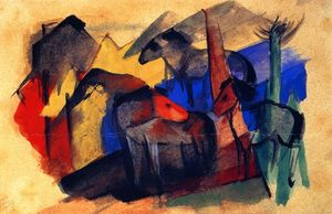 Franz Marc - Three Horses in Landscape with Houses