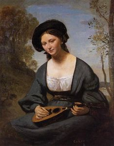 Jean Baptiste Camille Corot - Woman in a Toque with a Mandolin