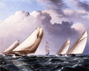 James Edward Buttersworth - Yachts Rounding the Mark