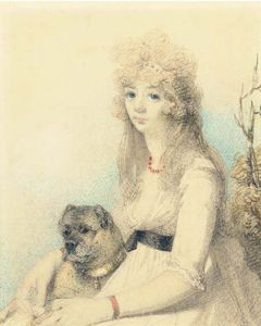 George Chinnery - Portrait Of Lady Elizabeth Stanley With Her Dog, Half-length, Seated