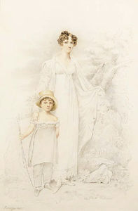 Henry Edridge - Portrait Of A Mother And Child, Full-length, In A Rustic Landscape