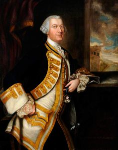 Thomas Hudson - Portrait Of An Unknown Gentleman In A White Waistcoat And Dark Blue Coat With Gold Braid