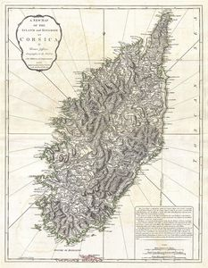 Thomas Jefferys - A New Map Of The Island And Kingdom Of Corsica