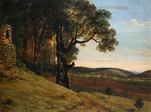 Thomas Jones - Welsh Landscape With Oak Trees By A Ruin