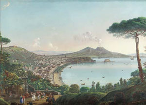 Nicolino Calyo - The Bay Of Naples With An American Frigate