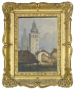 Samuel Prout - Towers In A German Town With Boats Passing On A River Below