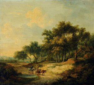 Patrick Nasmyth - Landscape With A Figure On Horseback And Cattle