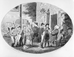 Isaac Robert Cruikshank - Outside The Old Hats Tavern