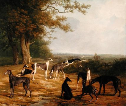 Order Art Reproductions Pop Art | Nine Greyhounds In A Landscape by Jacques Laurent Agasse | BuyPopArt.com