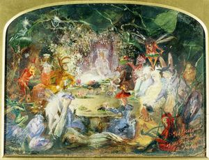 John Anster Christian Fitzgerald - The Original Sketch For The Fairy's Banquet