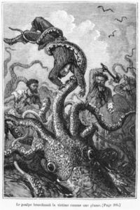 Alphonse Marie Adolphe De Neuville - The Octopus Attacking The Nautilus