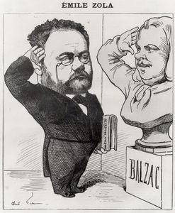 Andre Gill - Caricature Of Emile Zola Saluting A Bust Of Honore