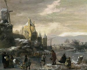 Nicolaes Jansz Molenaar - Winter Landscape With Skaters