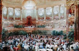 Eugene Louis Lami - Dinner In The Salle Des Spectacles At Versailles