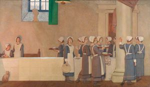 Frederick Cayley Robinson - Orphan Girls In The Refectory Of A Hospital