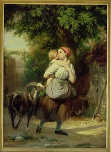 Fritz Zuber Buhler - A Mother And Child With A Goat