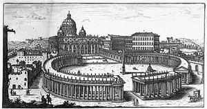 Giovanni Battista Falda - Bernini''s Original Plan For St. Peter''s Square, Rome