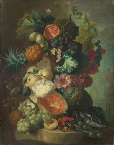 Jan Van Os - Fruit, Flowers And A Fish