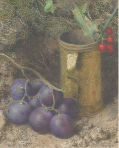 William Henry Hunt - Still Life Of Grapes, A Tankard And A Sprig Of Holly