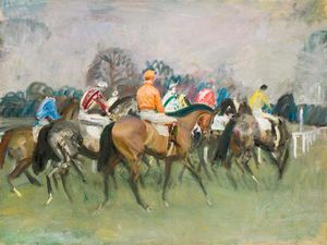 Alfred James Munnings - Moving Up To The Start