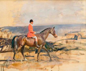 Alfred James Munnings - Study Of A Huntsman And A Bay Mare