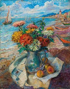 David Davidovich Burliuk - Still Life On The Beach, France