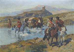 Franz Roubaud - Cossacks Crossing A Ford