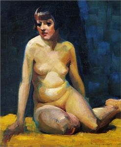 George Benjamin Luks - Seated Nude With Bobbed Hair