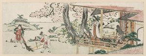 Katsushika Hokusai - Ladies On The Veranda Of A Nobleman's House Watching