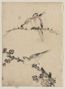 Katsushika Hokusai - Three Birds Perched On Branches, One With Blossoms