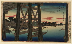 Katsushika Hokusai - View Of Full Moon From The Scaffolding Beneath A Bridge, With City On The Left