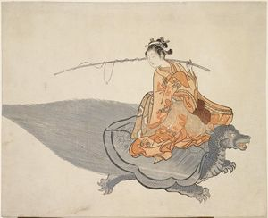 Suzuki Harunobu - Young Woman Riding A Turtle