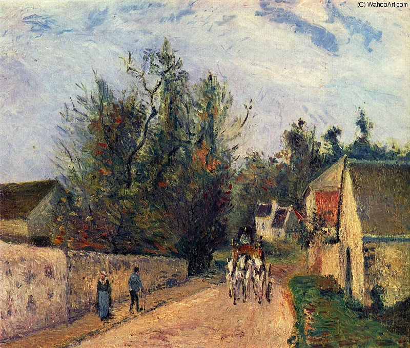 famous painting The Stage on the Road from Ennery to l_Hermigate, Pontoise. of Camille Pissarro
