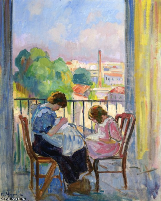 famous painting Girl Sewing at the Window of Henri Lebasque