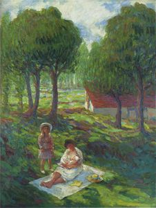 Henri Lebasque - Mother and Child in a Landscape