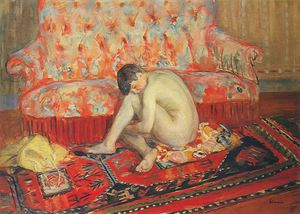 Henri Lebasque - Nude on Red Carpet